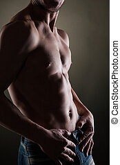 muskulös, naken, man, på, svart
