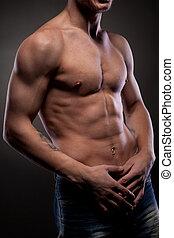 muskulös, naken, man
