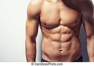 muskulös, oberkörper, von, junger mann