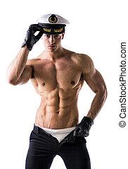 muskulös, shirtless, manlig, sjöman, med, nautisk, hatt