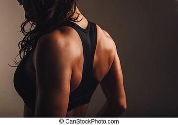 muskulös, zurück, von, a, frau, in, sportkleidung