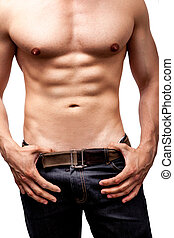 muskuløse, mand, krop, fraværende., sexet