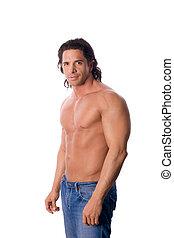 muskuløse, mand, pæn, jeans, shirtless