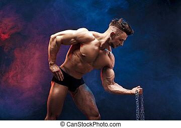 muskularny, tło., dymny, człowiek, moc, male., sportowy, straszliwy, wykonuje, przystojny, bodybuilder, posing., ciemny, bodybuilder, stosowność, doskonały, chain., ciało