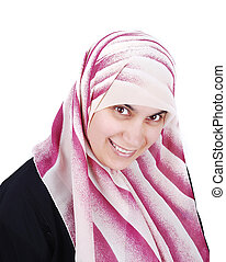 muslim, カバーされた, 美しい, 幸せな女性