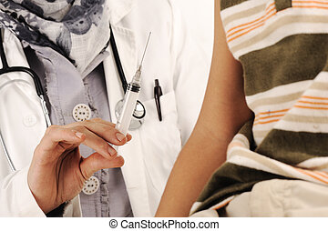 muslim, 女性の医者, 中に, 病院, インジェクションを与える, へ, a, 小さい 男の子