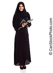 muslim, 女, 現代, タブレット, コンピュータ