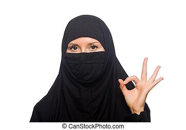 muslim, 女, 隔離された, 上に, ∥, 白