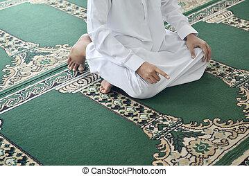 muslim, 手, アジア 人, 祈ること, 上げること, ハンサム