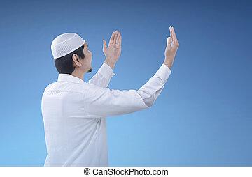 muslim, 手, 祈ること, 宗教, 上げること, 人