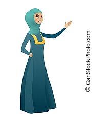 muslim, 提示, 女, direction., ビジネス