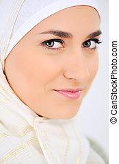 muslim, 美しい女性, 肖像画