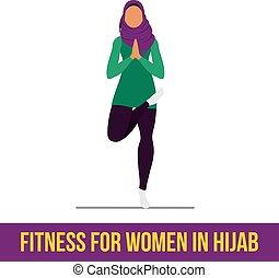 Muslim aerobic icons. Full color - Muslim woman in hijab...