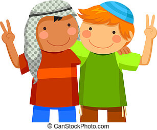 muslim and jewish kids - Muslim boy and Jewish boy being...
