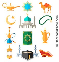 Muslim arabic colorful icons - Muslim arabic icons vector...