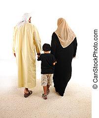 Muslim arabic family walking