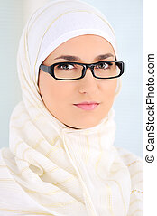 Muslim beautiful woman indoor