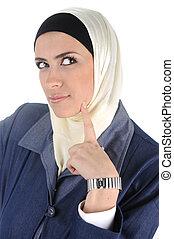 Muslim beauty woman thinking