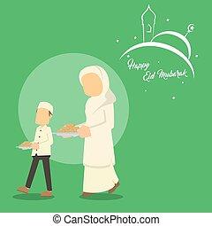 muslim boy helping his mom serving cookies