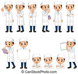 Muslim boy in science gown in different poses