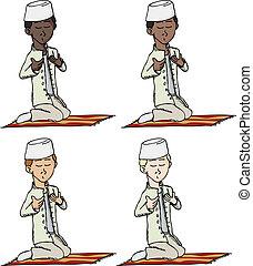 Muslim Boy Praying - A cartoon of a young Muslim boy with...