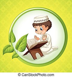 Muslim boy praying alone illustration