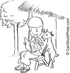 Muslim boy reading with a goat - Sketch Drawing illustration