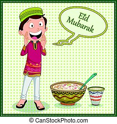 Muslim boy wishing Eid Mubarak Happy Eid Ramadan background...
