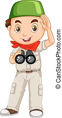 Muslim boy with binoculars illustration