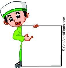 muslim boy with sign board