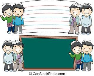 Muslim Boys Education Boards - Illustration of Male Muslim ...