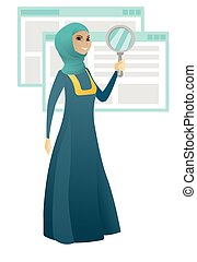 Muslim business woman with magnifying glass.