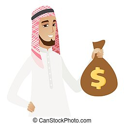Muslim businessman holding a money bag.