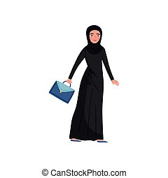 Muslim businesswoman with blue briefcase in hand. Young woman in long black dress and hijab. Flat vector design
