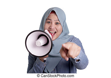 Muslim Businesswoman With Megaphone Pointing Forward, Join Us Concept