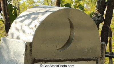 Muslim cemetery. Headstone, symbol