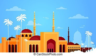Muslim Cityscape Nabawi Mosque Building Religion Flat Vector...