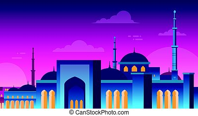 Muslim Cityscape Nabawi Mosque Building Religion Night View