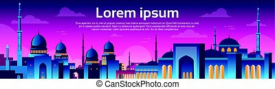 Muslim Cityscape Nabawi Mosque Building Religion Night View...
