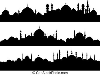 Muslim cityscapes isolated on white background for religious...