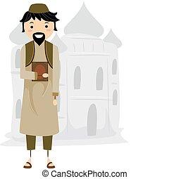 Muslim - Illustration of a Muslim Near a Mosque