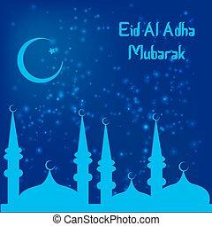 Muslim Community Festival of sacrifice Eid-Ul-Adha. Vector...