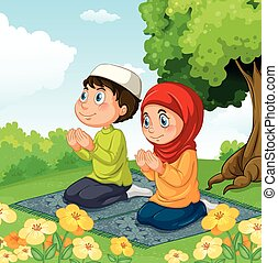 Muslim couple praying in the park