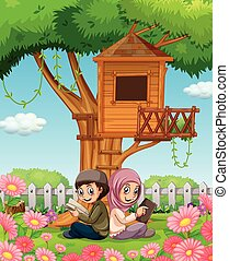 Muslim couple reading books in the park illustration