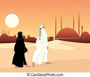 a vector illustration in eps 10 format of a muslim couple going to an ornate temple mosque dressed in traditional islamic clothing under an evening sky with a big yellow sun