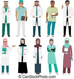 Muslim doctor and arabian nurse icons