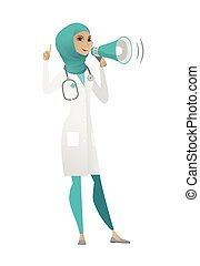 Muslim doctor talking into loudspeaker.
