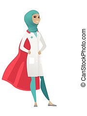 Muslim doctor wearing a red superhero cloak.