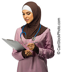 Muslim doctor with tablet