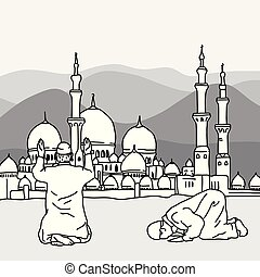 Muslim Doing Salah at the background of a mosque during...